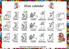 Shoe calendar, Sinterklaas. On this shoe calendar Sinterklaas or Piet can indicate if your child can place his shoe for the fireplace in the evening and will receive a present in his shoe next morning. Piet can indicate this by colouring the shoes of those days for example.
