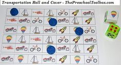 Transportation Roll, Count, and Cover Game for Preschool and Kindergarten