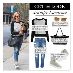 """""""Celeb Style: Jennifer Lawrence"""" by ellize-back ❤ liked on Polyvore featuring Valentino, Oliver Peoples, rag & bone/JEAN, rag & bone and AG Adriano Goldschmied"""