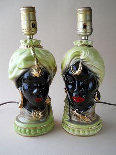 Vintage Shawnee/Blackamoor African Head Lamp by whatnotsandsuch, $65.00