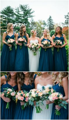 Blue bridal party, matching dark teal bridesmaid dresses, pastel pink floral wedding bouquets // Eileen K. Photography