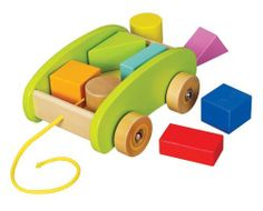 Educo Pull Along Mini Block Cart by Hape. $20.99. From the Manufacturer                The Pull Along Mini Block Cart is made of natural wood, painted green with spiral graphic wheels that are fun to watch when pushed or pulled. Eight simple shapes are included that can be stacked and un-stacked in the cart. Included are 2 of each shape, a square, circle, trapezoid and rectangle. The Educo brand has meant quality and innovation in toys for over 30 years.                 ...