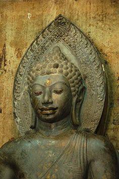 3000 year-old stone Buddha at Ayutthaya, Thailand♥♥♥