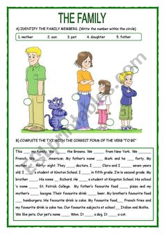 Identify family menbers Complete the text using the verb to be. Answer questions about the text. Use genitive case (clothes) English Speaking Skills, Teaching English Grammar, English Reading, English Fun, Learn English Words, English Language Learning, English Vocabulary, Grammar Lessons, English Conversation Learning