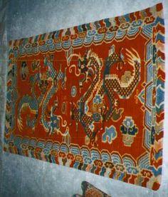 TIBETIAN DRAGON CARPETS | Orange dragons rug SOLD
