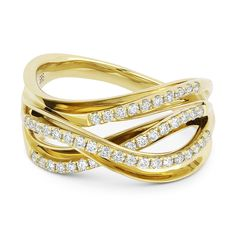 0.35ct Round Cut Diamond Right-Hand Overlap Loop Fashion Ring in 14k Yellow Gold - AlfredAndVincent.com