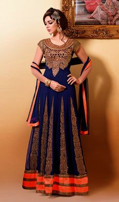 Royal Blue and Tomato Embroidered Georgette Pakistani Suit Price: Usa Dollar $141, British UK Pound £83, Euro104, Canada CA$153 , Indian Rs7614.