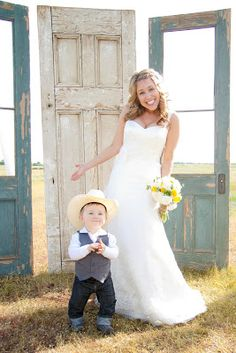 From Dahlias to Doxies: Our Vintage Country Wedding LOOK how cute this little boy is!! = Karsen!