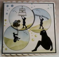 Made by Lynne Lee - Clarity Stamps Wee Folk stamps & Jo's bubbles stencils with a cropped Tonic fae trellis die cut - birthday card for a mum of 3 boys! #cardmaking #papercraft