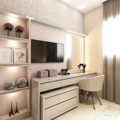 What a beautiful dressing table with TV panel, side niches and wallpaper . Home Room Design, Luxury Bedroom Design, Bedroom Makeover, Home Bedroom, Bedroom Closet Design, Small Room Bedroom, Cute Room Decor, Wardrobe Room, Bedroom Bed Design