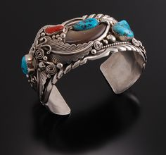 Cuff   Erick Begay (Navajo).  Sterling silver, turquoise, Mediterranean coral and black bear claw