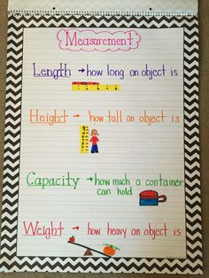Made this chart for my kindergarten math unit on measurement