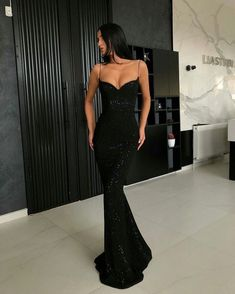 Sheath Spaghetti Straps Open Back Sequins Black Long Prom Dress - 2020 New Prom Dresses Fashion - Fashion Of The Year Mermaid Prom Dresses, Prom Party Dresses, Homecoming Dresses, Dress Party, Occasion Dresses, Wedding Dresses, Dream Dress, Pretty Dresses, Elegant Dresses