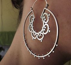 Sterling silver double ornate tribal hoop earrings
