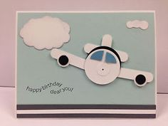Airplane Punch Art Stampin Up Birthday Card Kit 5 cards Boy Cards, Kids Cards, Cute Cards, Birthday Cards For Boys, Happy Birthday Cards, Male Birthday, 8th Birthday, Scrapbook Paper Crafts, Scrapbook Cards