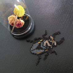 La grille téléchargeable Les curiosités n'est pas sans rappeler les cabinets des naturalistes. Vous trouverez les motifs de l'abeille, du scarabée et d'un autre insecte surprise, le materiel nécessaire ainsi qu'un pas à pas pour les réaliser. Des insectes tissés en perles miyukis que vous pourrez utiliser aussi bien pour décorer , sous cadre ou dans une boite en verre, ou en bijoux, montés sur une broche, en bracelet ou en sautoir, les possibilités sont multiples! [gallery]