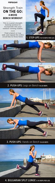 Great workout on the go. Stop and Give Us A Strength-Training Workout For You Yoga Fitness, Fitness Tips, Fitness Motivation, Health Fitness, Fitness Quotes, Hiit, Cardio, Fun Workouts, At Home Workouts