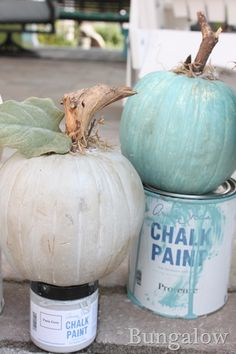 Painted pumpkins with Annie Sloan chalk paint. A fun different way to have a Halloween decor with a new color scheme Fall Pumpkins, Halloween Pumpkins, Fall Halloween, Velvet Pumpkins, White Pumpkins, Thanksgiving Decorations, Halloween Decorations, Christmas Decorations, Coastal Fall