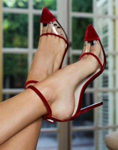 Wine Red Velvet Clear PVC Ankle Strap Heels Pumps for Work, Formal event, Ball Red Heels, Pumps Heels, Stiletto Heels, Red Pump Shoes, Fall Heels, Flat Shoes, Stilettos, Ankle Strap Heels, Ankle Straps