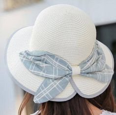 Straw bow wide brimmed hat for ladies sun protection hats