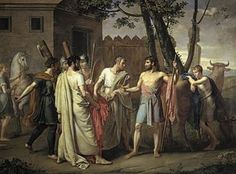 Cincinnatus leave the plow to be elected dictator and fight for Rome Juan Antonio Ribera y Fernández.