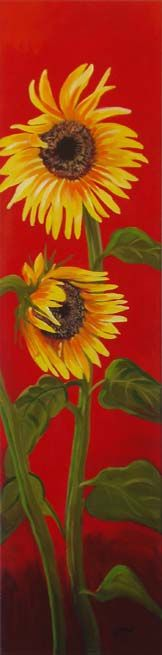 "Large sunflowers on red background acrylic on canvas 48""hx12"" by Barbara Ann Spencer Jump"