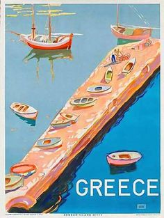 Greece vintage travel poster fishing boats