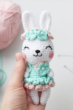 Spring bunny amigurumi is a crochet toy by Tatyana Kostochenkova. Crochet Easter, Crochet Bunny Pattern, Easter Crochet Patterns, Crochet Rabbit, Crochet Bear, Cute Crochet, Crochet Dolls, Doilies Crochet, Crochet Animals