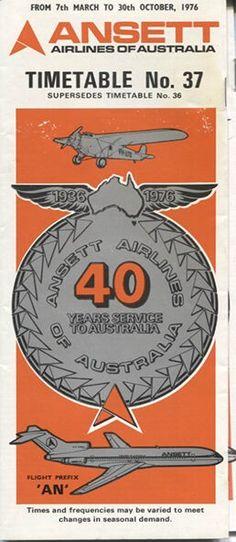 Ansett Airlines of Australia timetable Melbourne, Sydney, Australian Airlines, Australian Vintage, Air New Zealand, Aviation Art, Australia Travel, Travel Posters, Vintage Advertisements