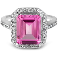 Pompeii3 4 1/2ct Pink Topaz & Diamond Vintage Halo Engagement Ring... ($600) ❤ liked on Polyvore featuring jewelry, rings, white, 14k ring, 14k engagement ring, 14k diamond ring, engagement rings and 14k white gold ring
