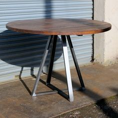 Reclaimed Industrial Round Dining Table, Trapeze Frame Metal Table Legs, Bar Cafe Restaurant, Solid Round Wood Top, Industrial Furniture