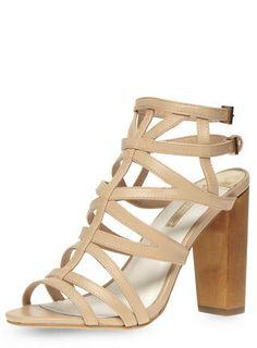 Nude gladiator block sandals