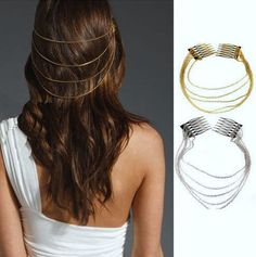 """Hair comb Renaissance / Ancient Greece / Egyptian type Hair ornament clip. Comb Headband w/ Chains. Chain Fringe Tassels. Shiny Head piece. Hair accessories. Such pretty Hair jewelry! This listing is for the SILVER tone Metal combs - gold pictured for details.   Approx. chain lengths: 9.5"""" ,10...."""
