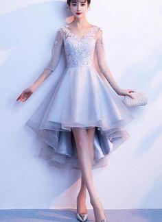 Grey Short Sleeves High Low Party Dress, Lace-up Backless Formal Dress 2019 Source by dressikspir Dresses Best Prom Dresses, Grad Dresses, Modest Dresses, Trendy Dresses, Homecoming Dresses, Party Dresses, Cute Dresses, Short Dresses, Fashion Dresses