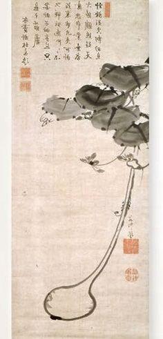 瓢箪・牡丹図. Gourds. Itō Jakuchū. Japanese hanging scroll. Eighteenth century.