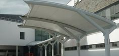 Single truss walkway canopy. Car Shed, Canopy Architecture, Parking Design, Walkway, Opera House, Building, Outdoor Decor, Home Decor, Carport Garage