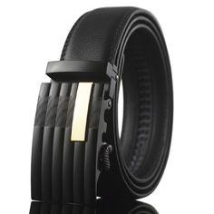 2016 Leather Belt Dress Ratchet Belt Holeless Automatic Buckle Adjustable Size Mens Belts Luxury Brand Designe Leather Black