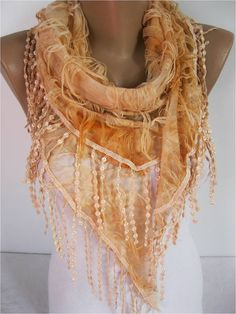 Elegant  Orange  Scarf  Cowl with Lace Edge gift Ideas For