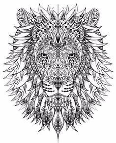 Free Coloring Page Adult Difficult Lion Head Drawn With Very Smart And Harmonious Patterns