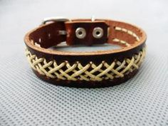 Adjustable Brown Real Leather Hemp Ropes Woven and by sevenvsxiao