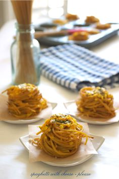Three Cheese Spaghetti Nests via Family Fresh Cooking