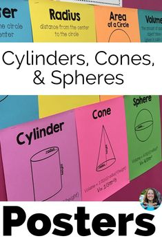 Volume of Cylinders, Cones, and Spheres Posters Set Math Teacher, Math Classroom, Kindergarten Math, Classroom Decor, 8th Grade Math, Eighth Grade, Math Vocabulary Words, Geometry Activities, Math Anchor Charts