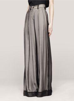 ann demeulemeesterlayered wide-leg silk pants