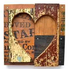 heart art primitive shabby chic chippy paint architectural salvage