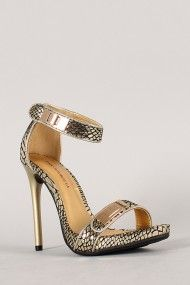 Shoe Republic Vanna Snake Lock Embellished Open Toe Stiletto Heel