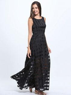 Shop Black Plaid Print Organza Skater Maxi Dress from choies.com .Free shipping Worldwide.$19.9