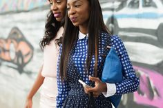 The NYFW Street Style Looks That Truly Stunned #refinery29  http://www.refinery29.com/2014/09/73987/new-york-fashion-week-2014-street-style-photos#slide37  Blue patterns on Chinyere Adogu.
