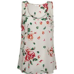 Joie Rain B Tank - Flower Porcelain ($155) ❤ liked on Polyvore featuring tops, shirts, tank tops, tanks, flower porcelain, loose tank, floral shirts, loose fit tank, loose fitting shirts and flower shirt