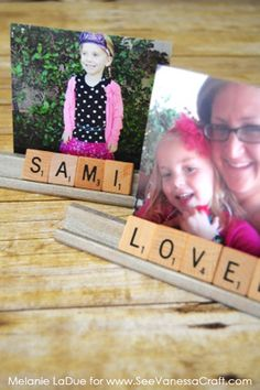 (craft tutorial) scrabble tile photo holder gift - See Vanessa Craft Scrabble Letter Crafts, Scrabble Letters, Scrabble Tiles, Summer Crafts, Crafts For Kids, Craft Gifts, Diy Gifts, Photo Craft, Christmas Crafts