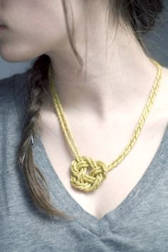 Brass twisted mesh knot necklace $60.00 by SpicySugar